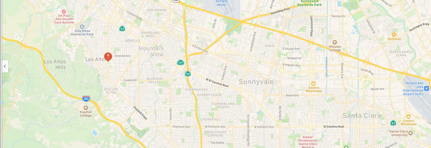 Los Altos and Hills California Map